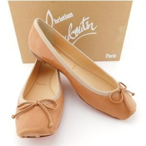 New CHRISTIAN LOUBOUTIN Nude Bow Ballet Flats 37